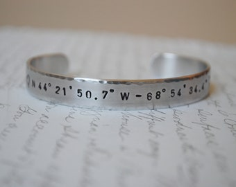 Longitude and Latitude Hand Stamped Bracelet- Personalized Bracelet