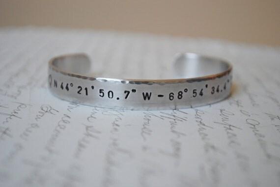 Longitude and Latitude Hand Stamped Bracelet- Personalized Bracelet