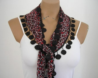 Women Leopard Scarf Cotton Scarf Red Black Summer Scarf