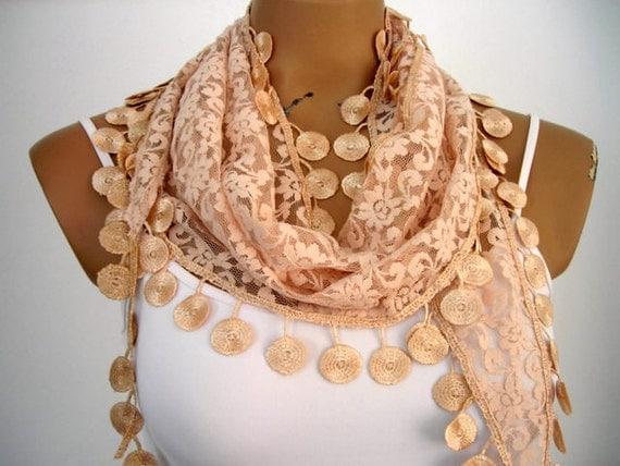 Light Brown Lace Scarf  Wedding Wrap Shawl Cowl