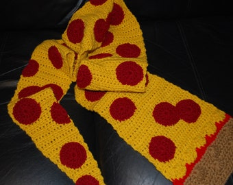 Crocheted Cheese & pepperoni pizza scarf