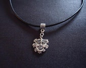 Green Man Pendant on Leather Cord or Ribbon