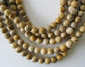 """Large Hole Bead 8 mm Round Picture Jasper for Leather 8"""""""