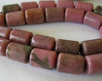 10 Rhodonite Barrel Big Hole Bead 10mm x 14MM Pink Gemstone Fit Leather