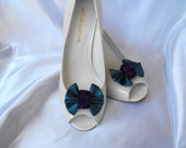 Handmade bow shoe clips peacock inspired bridal shoe clips wedding accessories in teal blue and eggplant