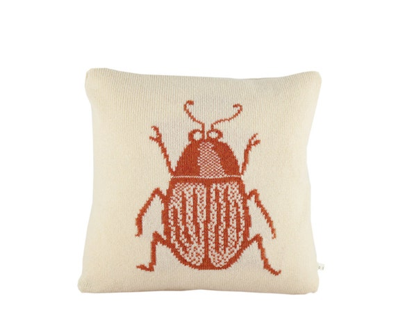 """Decorative Pillow -  'Aaaah, it's an insect' pillow - soft knitted pillow -  16""""x16"""", includes insert"""