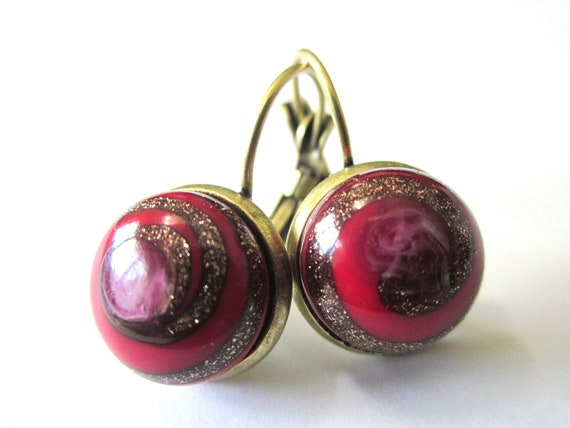 Vintage glass earrings with red & gold glass, each unique. A lot going on in these