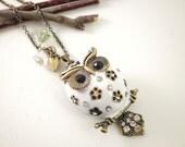 Owl White Enameled with Rhinestones Antiqued Brass Necklace