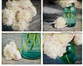 Peony Mason Jar Prints, 4 Photos White Peonies Bouquet, Aqua Blue Mason Jars, Dreamy Romantic Set Four Art Photos, Shabby Chic Cottage Decor