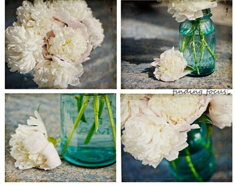 Peony Mason Jar Prints, 4 Photos White Peonies Bouquet, Aqua Blue Mason Jars, Dreamy Romantic Set Four Art Photos, Shabby Chic Cottage Decor