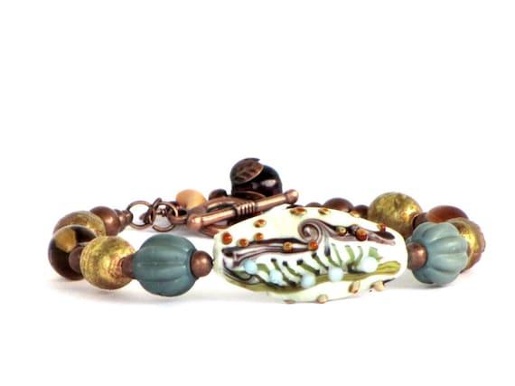 Turquoise Lampwork Beaded Bracelet, Copper, Orange, Brown, Green Lampwork, Boho Chic, Gift for Her