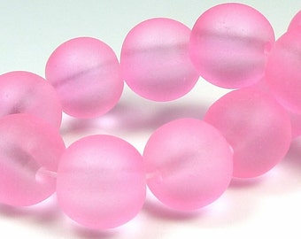 10mm Bright Pink Frosted Glass Beads - 20pcs - Round, Matte Glass, Translucent - BE20