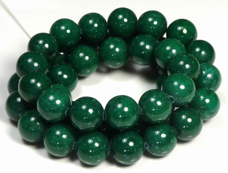 10mm Dark Green Mashan Jade Round Gemstone Beads 16 Inch