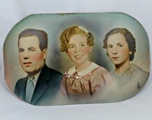 Vintage portrait, family, hand colored photograph, 1930s