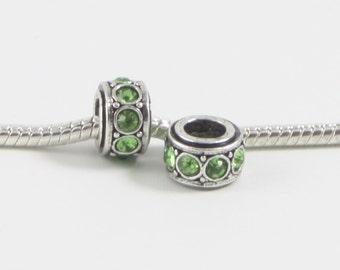 3 Beads - Green Rhinestone Silver European Bead Charm E0608