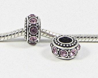 3 Beads - Pink Rhinestone Dots Barrel Silver European Bead Charm E0705