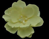 Ivory Magnolia Flower with Fresh Water Pearl & Swarovski Crystal Center Hair Clip