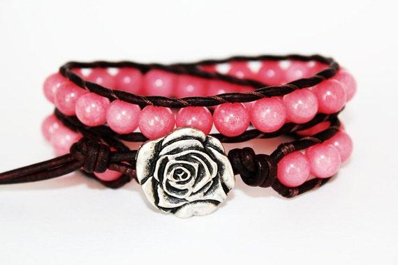 RESERVED FOR AMY - Rose Bracelet, Wrap Bracelet,  Leather Beaded Wrap Bracelet 2x, Flower Bracelet, Pink Jewelry, Flower Jewelry