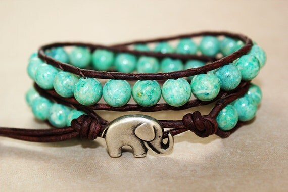 Elephant Bracelet, Leather Beaded Wrap Bracelet 2x, Elephant Jewelry, Seafoam Green Fossil Stone, Lucky Jewelry, Boho Chic