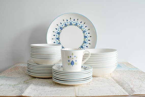 Vintage Swiss Alpine / Chalet 8 Complete Place Settings - Set of 48 Stetson Marcrest Dinnerware Dishes