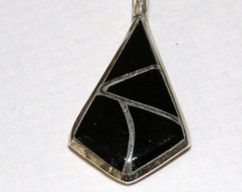 Signed Onyx Pendant in Sterling