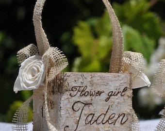 Personalized Shabby Chic - Rustic  Flower Girl Basket Wood/birch Bark