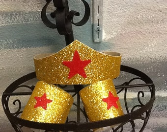 In Stock Wonder Woman Costume Tiara & cuffs, Wonder Woman Birthday, Wonder Woman Comic Con, Wonder Woman Party Favors