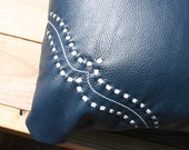 Leather Pillow Navy Blue with White Leather Laceing *On Sale*