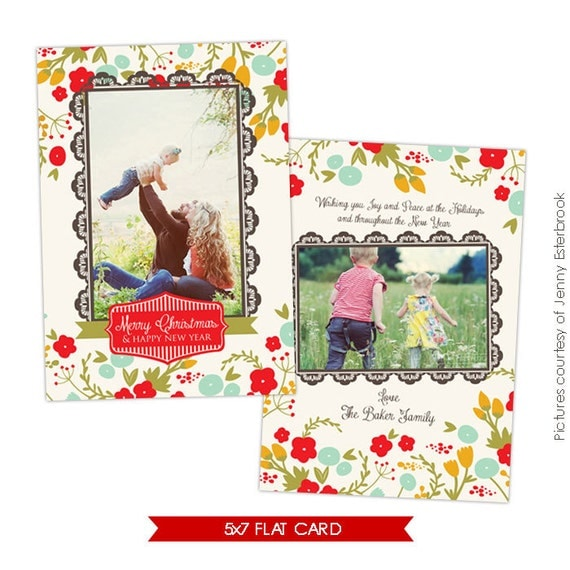 INSTANT DOWNLOAD Christmas Card Photoshop Template Romance
