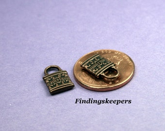 6 Lock Charms, Antique Copper 12 x 8 mm - cc009