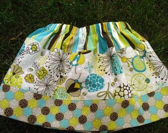 Girls Skirt - Girls Twirl Skirt - Girls Fall Skirt - Mod Skirt - Aqua Turquoise Lime Skirt - sizes 3T/4T 5/6 - READY TO SHIP