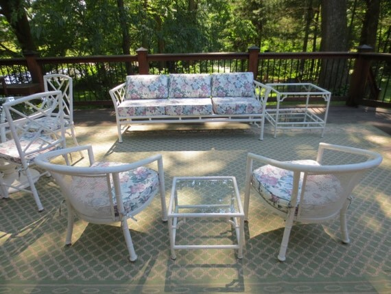 Faux Bamboo Chinese Chippendale 10 Piece Patio Set