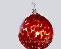 Red Hand Blown Glass Ornament, Glass Suncatcher Ornament, Blown Glass Lawn Ornament Size Large