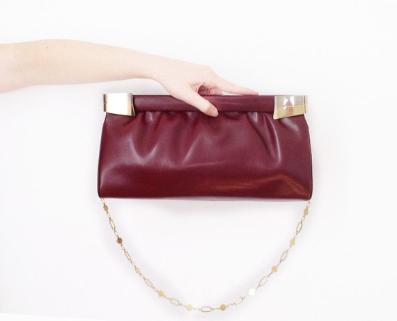 Vintage clutch burgundy Leather