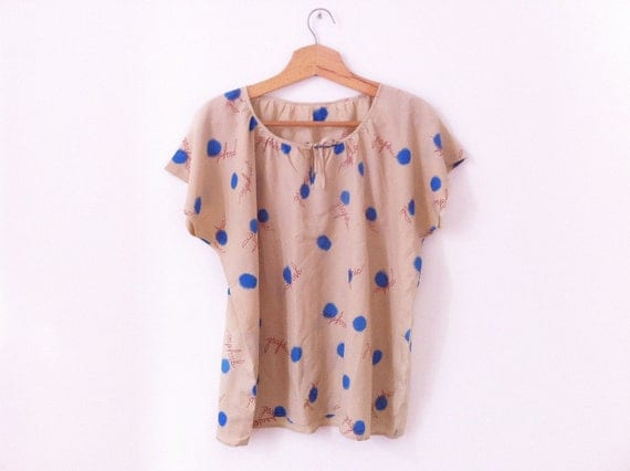 Vintage Silk blouse, graphics design beige and electric blue size L