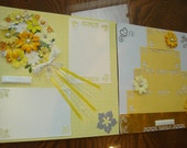 Premade Yellow Wedding Scrapbook Pages Tossing Throwing the Bouquet and Cutting the Cake