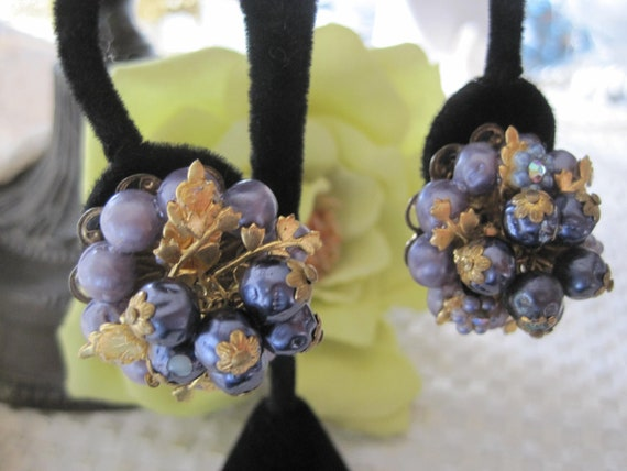 Vintage Purple Bead Dangle Earrings