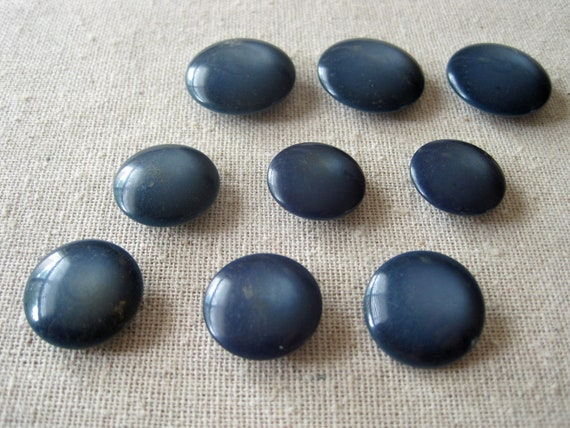 Set of 9 smokey blue shank vintage buttons