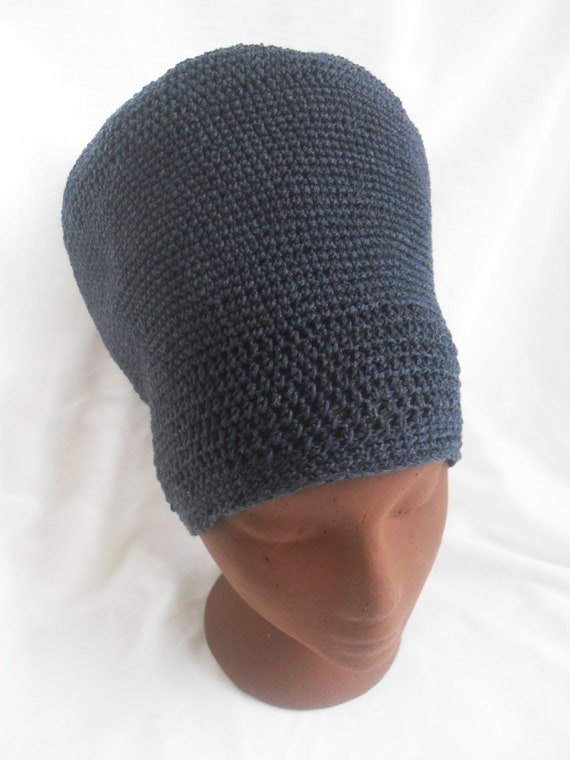 Large Blue Tam, Lightweight Organic Vegan Dread Hat READY TO SHIP