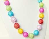 Agate Necklace Multi colored Handmade Jewelry Beaded Necklace Swarovski Crystals