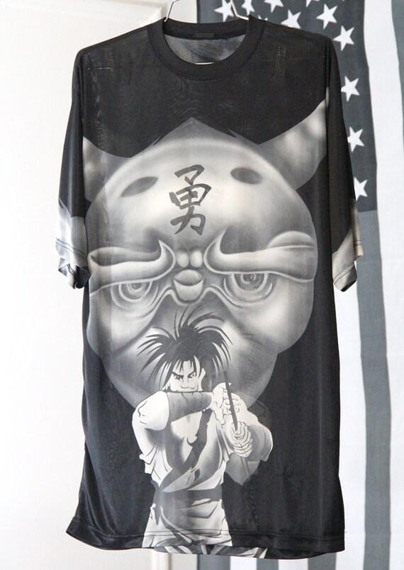 Semi-Sheer Anime Print Silky Shiny Black and White Shirt