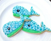 Whale Sugar Cookie Blue Iced Decorated Cookie Baby Shower Custom Cookie