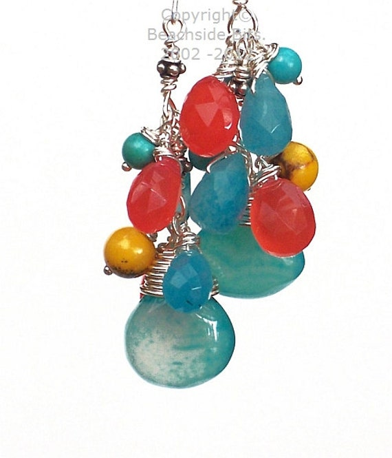 BUBBLE CASCADE, Chalcedony Earrings, .925 Sterling Silver, Sparkling blue Quartz, Turquoise, Australian Made