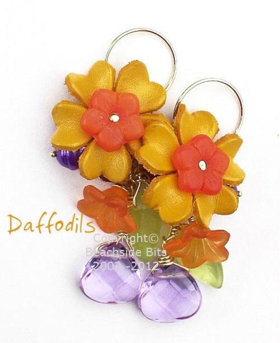 DAFFODILS, Leather Flower Earrings, 14k Gold Filled, Swarovski Crystal, Lavender Quartz, Freshwater Pearl, Australian Made