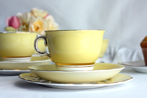 Colclough bone china tea set in vibrant yellow: vintage tea cup, saucer, plate perfect for a wedding or special tea party