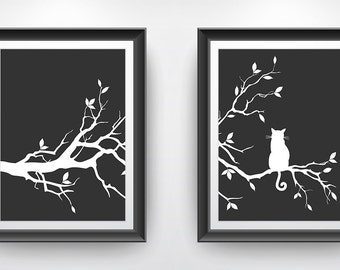 Cat Tree Wall Art Print Set of Two Prints - Charcoal Black
