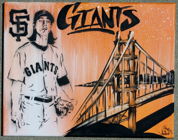 SF Giants Tim Lincecum Original Painting on 11x14 stretched framed canvas by Adam Valentino