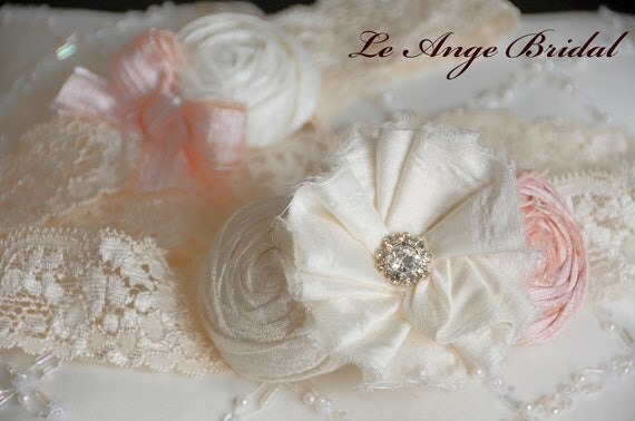ON SALE/SET- Silk garter set in Peach Pink
