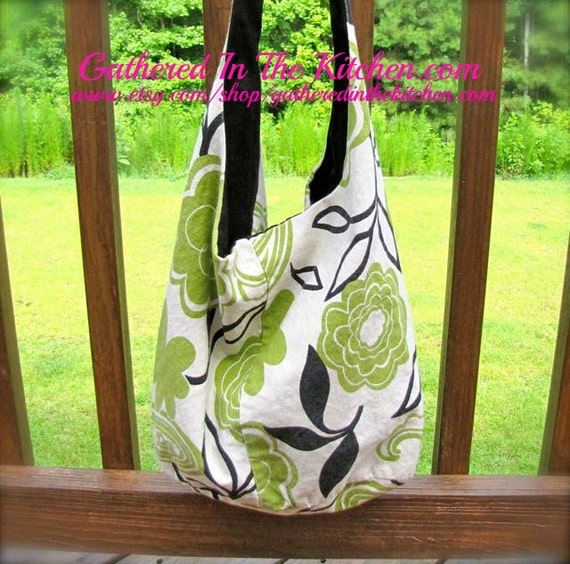 Hobo Bag Handmade Green and Black Floral Over The