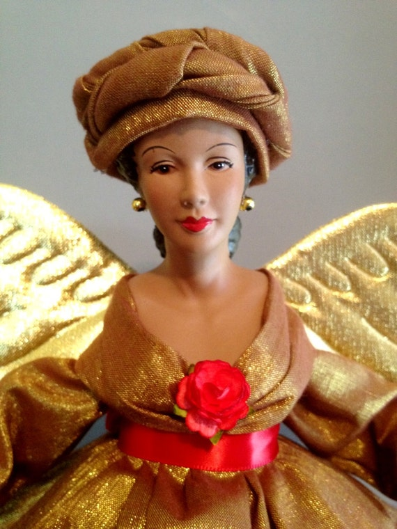African American Treetop Christmas Angel - Gold - Free Personalization